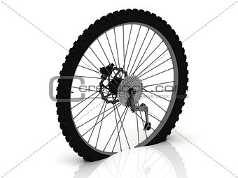 Studded wheel of a sports bike