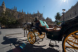 The Seville Cathedral with a carriage.