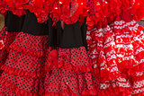 Flamenco dresses in a shop in the neighborhood of Santa Cruz, Se