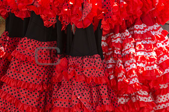 Flamenco dresses in a shop in the neighborhood of Santa Cruz, Se
