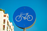 Bicycle lane road - round bike cycling sign
