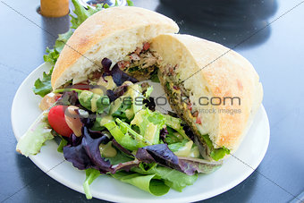 Tuna Salad Sandwich with Ciabatta Bread and Salad Closeup