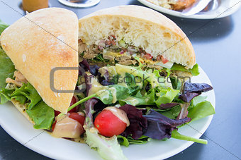 Tuna Salad Sandwich with Ciabatta Bread and Salad