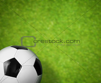 green grass soccer field and ball background
