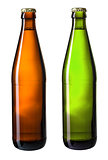 brown and green bottles of beer isolated on white with clipping