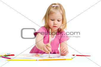 Little girl painting with brush isolated