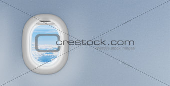 airplane window with copyspace on plastic wall
