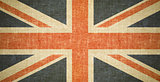 British flag on old canvas texture