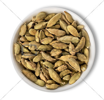 Cardamom in plate isolated