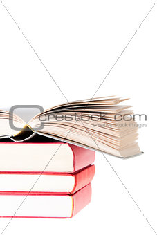 Blanc Book open over tree red books