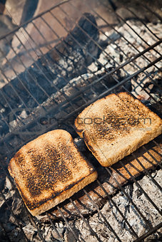 Toasted bread on the grill
