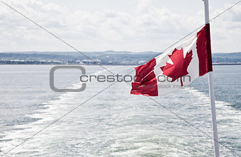 Boat leaving the Canadian coast