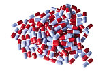 Heap of red and blue pills