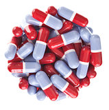Perfect circle off Red and blue tablets
