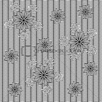 Abstract decorative flowers on grid