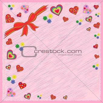 Greeting postcard on pink