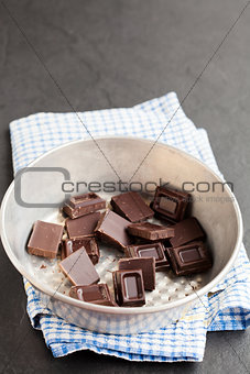 Bowl of chocolate pieces