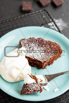 Slice of chcolate cake