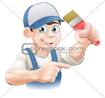 Painter decorator pointing