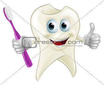 Tooth man holding a toothbrush