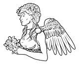 Stylised angel woman illustration