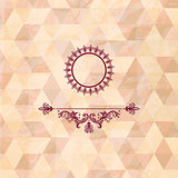 Vector vintage frame on geometric background