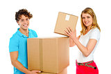 Attractive caucasian couple holding cardboard boxes
