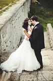 Caucasian young wedding couple