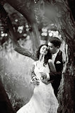 young wedding couple in forest