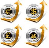 Dollars Pound Euro Yen Growth - Positive Arrow