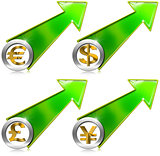 Dollars Pound Euro Yen Growth Positive Arrow
