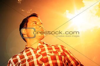 man in the evening sun