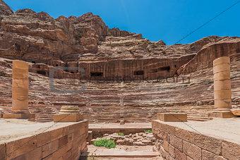 roman theater arena in nabatean city of  petra jordan