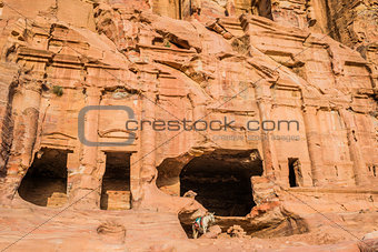 donkey and royal tombs in nabatean city of  petra jordan