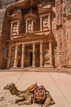 Al Khazneh or The Treasury in nabatean city of  petra jordan