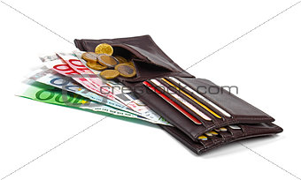 wallet with euro money, coins and credit card isolated on white background