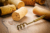 Wine corks on wooden table