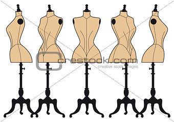 vintage fashion mannequins, vector set