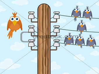 Sitting birds symbolize wireless technology