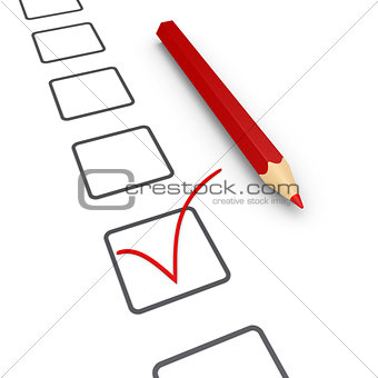 Application with check mark and a pencil