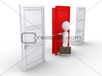 Businessman choosing the red door