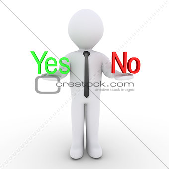 Businessman holding Yes and No words
