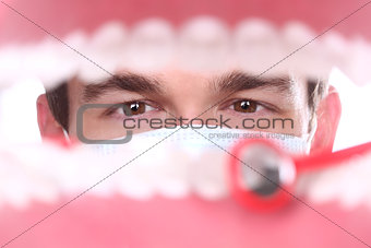 Caucasian Dentist Working Inside a Patient Mouth