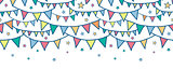 Vector colorful doodle bunting flags horizontal seamless pattern background