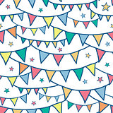 Vector colorful doodle bunting flags seamless pattern background