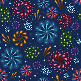 Vector holiday fireworks seamless pattern background