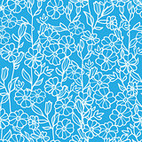 Vector lacey blue and white blossoms seamless pattern background