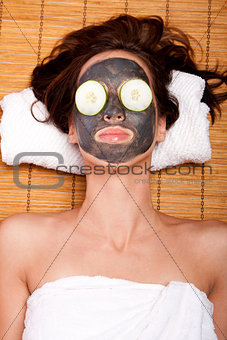 Womale facial mask skincare spa