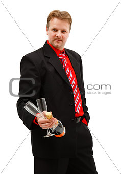 Business man with champagne and glasses