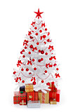 White Christmas tree with presents and red decoration